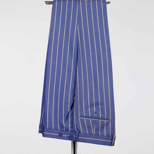 Fashuné Hazleton Blue Striped Double Breasted Suit