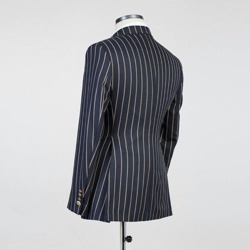 Fashuné Hazleton Black Striped Double Breasted Suit