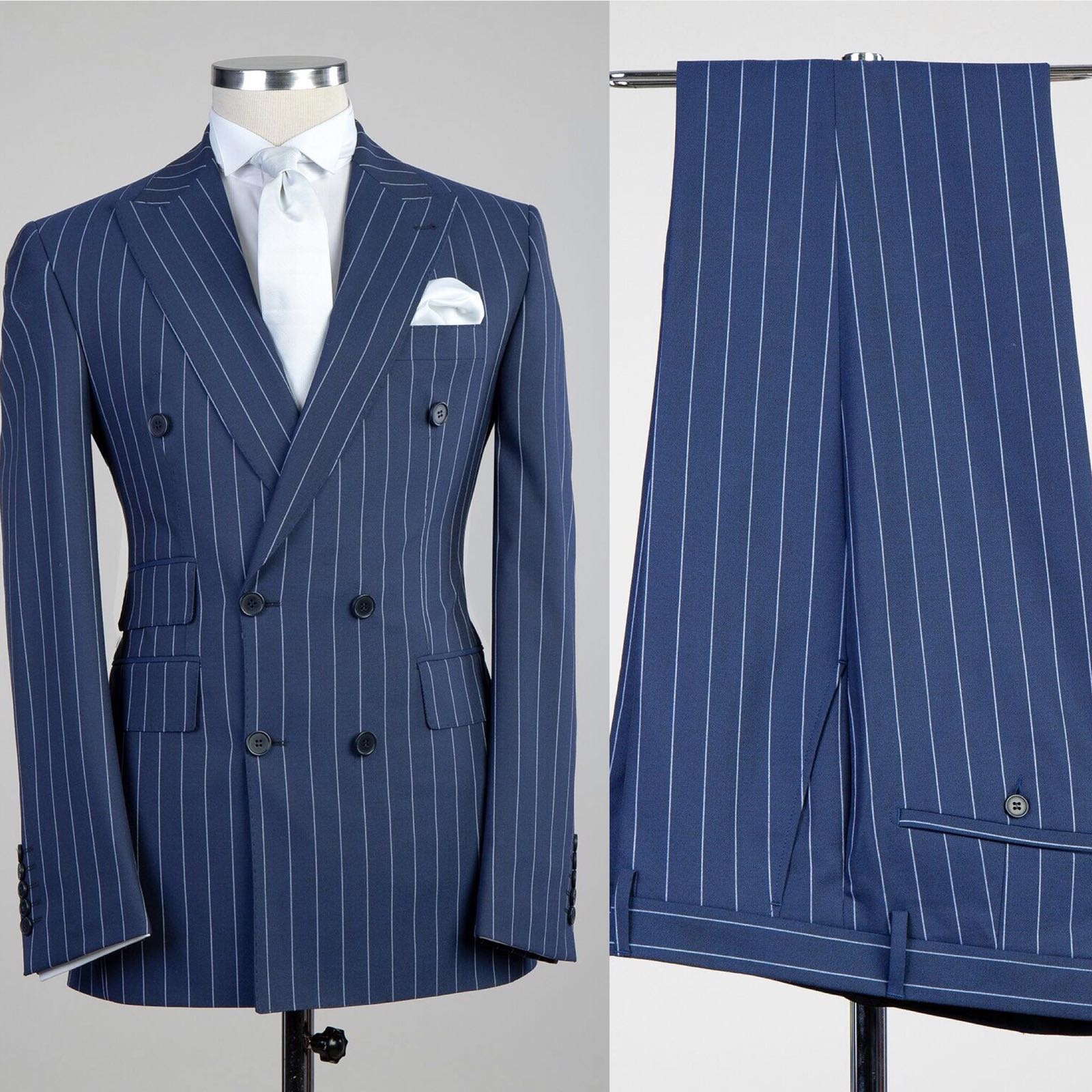 hot sale online great discount for authentic quality Fashuné Classic Navy Blue Pinstripe Suit
